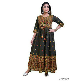 Fancy Rayon Solid With Printed 3/4th Sleeve Floor Length Kurtis
