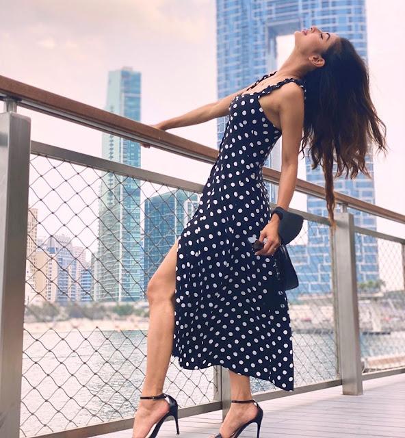 Mouni Roy Goes Bold in Polka Dot Thigh-High Slit Blue Dress - newsdezire
