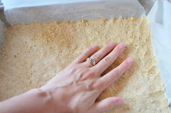 "Shortbread Almond Crust pressed into 9"" x13"" pan for Lemon Bars."
