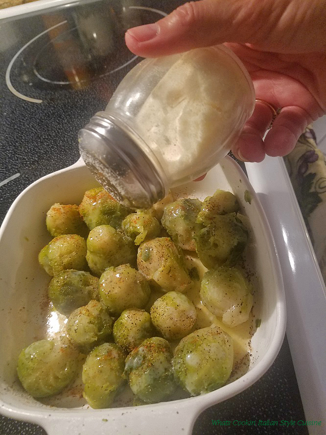 this is Parmesan Cheese coated brussels sprouts