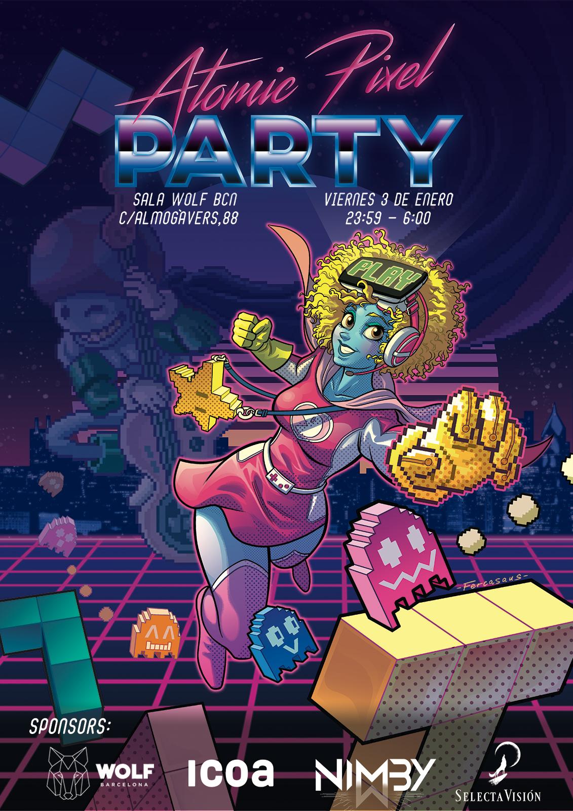 Cartel de la Atomic Pixel Party Barcelona