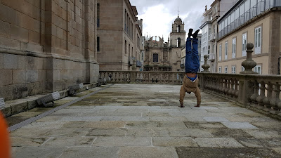 You know you're good when you can take a pictures and do a handstand at the same time
