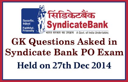 Syndicate Bank PO Exam 2014 held on 27th December 2014