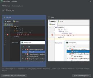 PyCharm interfaces theme selection dialog box and plugins