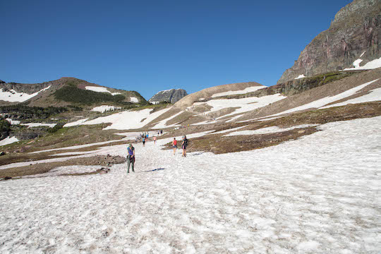 Snowfields on the way to Hidden Lake Overlook