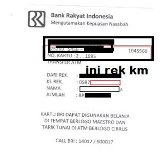 Gambar lokasi  informasi nomor rekening bri di struk transfer bri