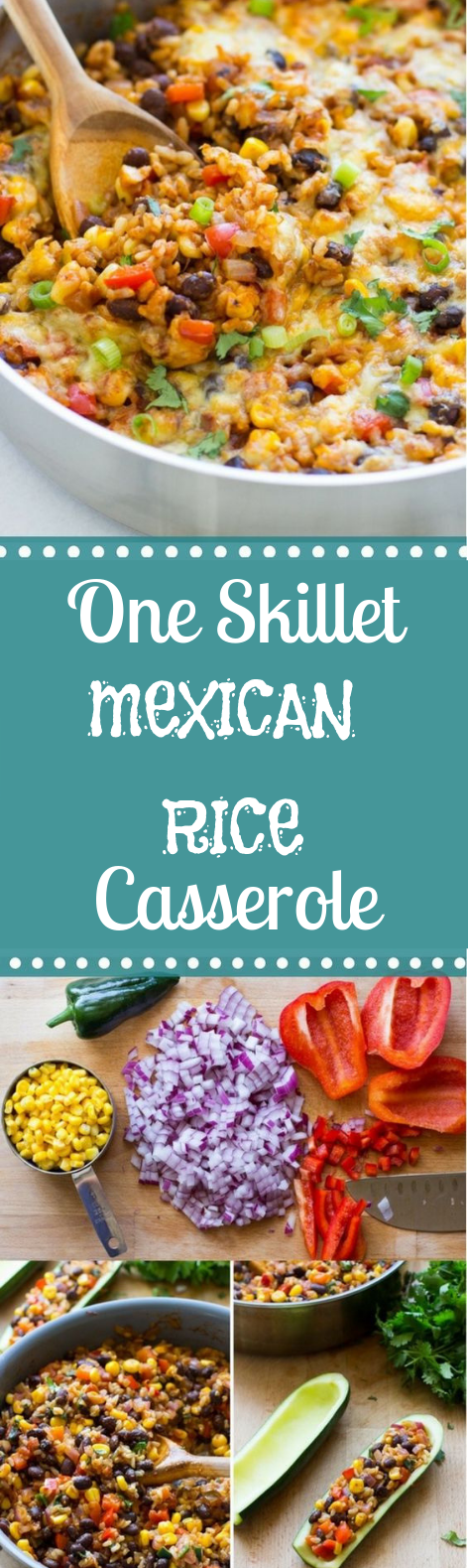 ONE SKILLET MEXICAN RICE CASSEROLE #vegetarian #deliciousmeal