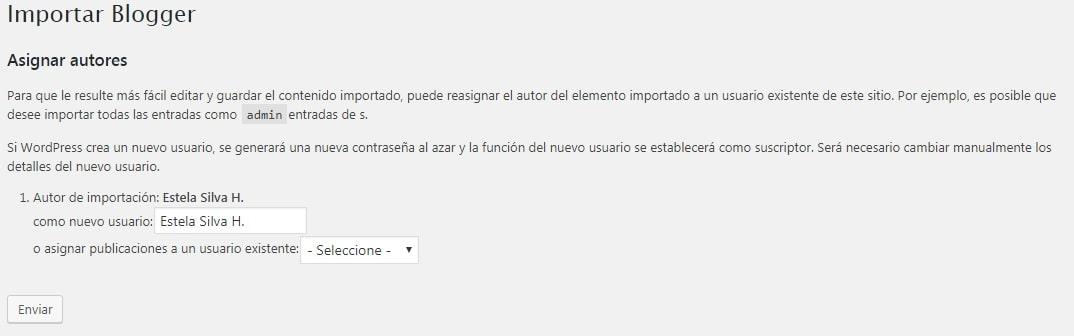 pantalla para reasignar autor a un usuario existente de este sitio