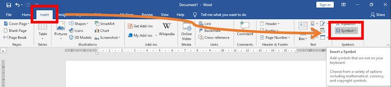 cara membuat simbol di word, excel, powerpoint