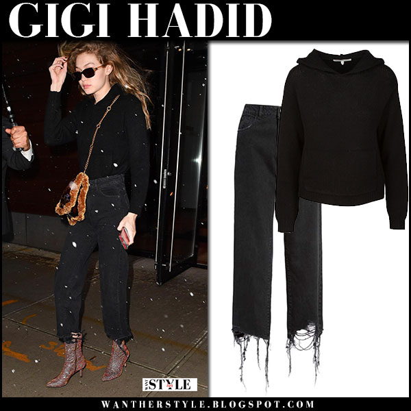 Gigi Hadid in black sweater and black cropped jeans dl1961 model street fashion march 21