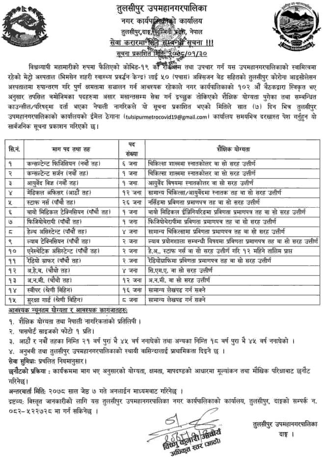 Tulsipur Sub-Metropolitan City, Dang Job Vacancy for Various Health Services
