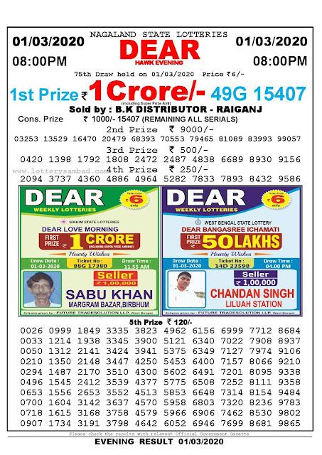 Lottery Sambad 01.03.2020 Nagaland Lottery Result 8 PM