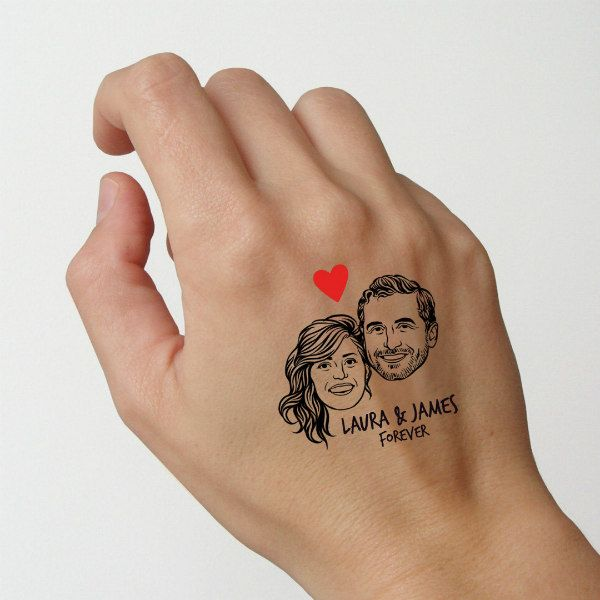 temporary tattoo of man and woman's faces placed on back of hand