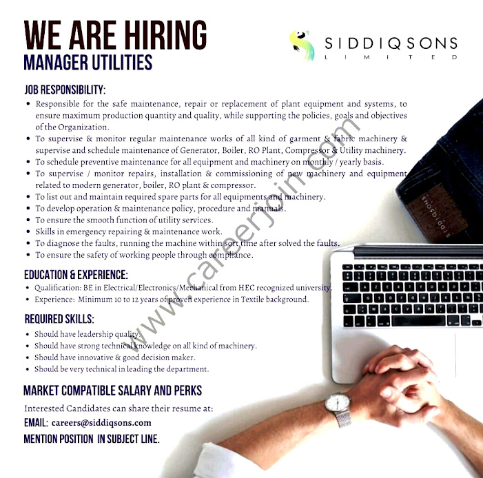 Siddiq sons Private Limited Latest  Jobs For Manager Utilities