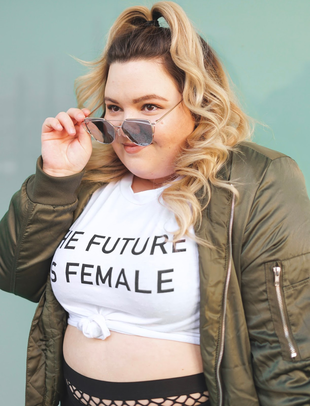 plus size fashion blogger, Chicago plus size model, petite plus, Steve Madden stud sneakers, fishnet plus size waist, plus size fishnet, fishnet joggers, plus model magazine, eff your beauty standards, skorch magazine, natalie in the city, Chicago fashion, midwest blogger, fashion nova curve