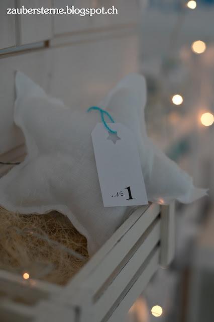 DIY Adventskalender, Adventskalender mit Sternen, Sterne nähen, zaubersterne, Blog Schweiz, Kreativblog Schweiz, Hochbett, Hochbetthaus, Kindertraum