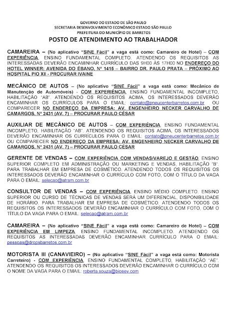 VAGAS DE EMPREGO DO PAT BARRETOS PARA 04-09-2020 PUBLICADAS NA TARDE DE 03-09-2020 - PAG. 5