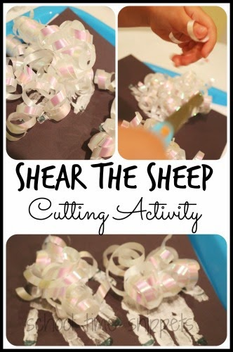 Fine Motor Scissor Skills Activity for a Farm Theme!  Shear the Sheep Cutting Activity using curly ribbon!