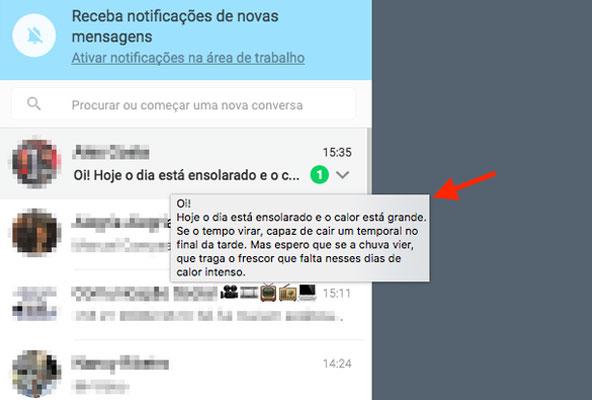 Mensagem visualizada sem abrir o chat no WhatApp Web
