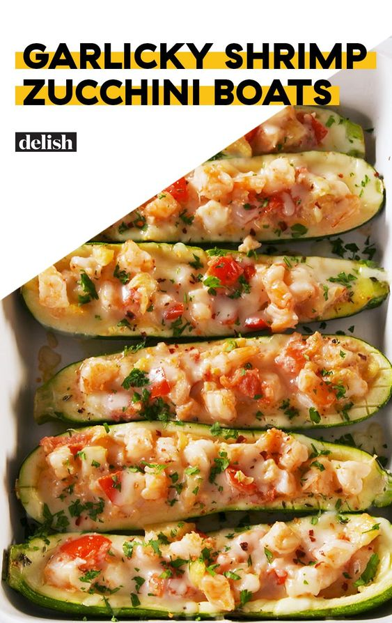 Garlicky Shrimp Zucchini Boats #recipes #dinnerrecipes #dinneroptions #gooddinner #gooddinneroptions #food #foodporn #healthy #yummy #instafood #foodie #delicious #dinner #breakfast #dessert #yum #lunch #vegan #cake #eatclean #homemade #diet #healthyfood #cleaneating #foodstagram
