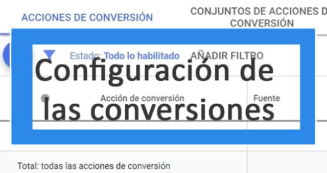 Configuración de las conversiones en adwords