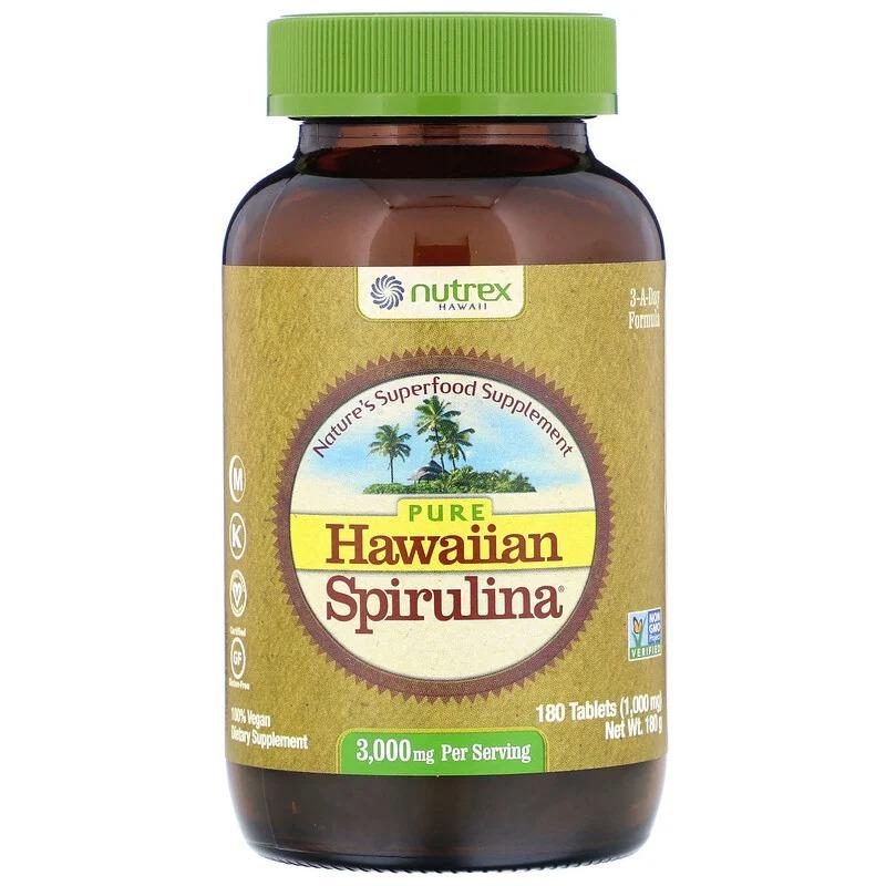 Nutrex Hawaii, Чистая гавайская спирулина, 3 000 мг, 180 таблеток