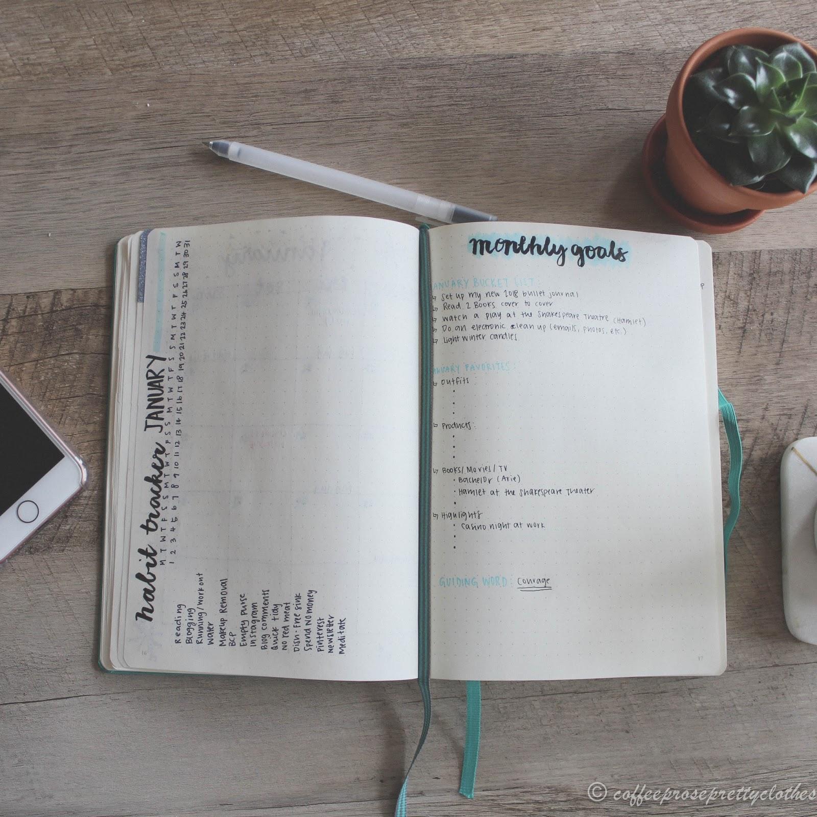 Bullet journal January habit tracker spread, Monthly goals spread