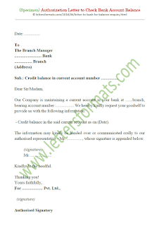 sample authorization letter to check bank account balance