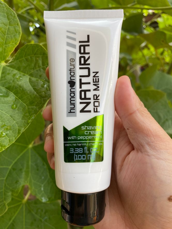 Human Nature shaving cream for men with peppermint