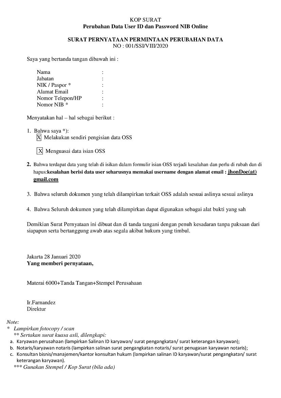 Contoh Surat Permohonan Perubahan Data : contoh, surat, permohonan, perubahan, Contoh, Surat, Perubahan, Username, Password, Nomor, Induk, Berusaha, (NIB), Online, Indonesia, Undername, Import, Export