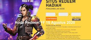 Kode Redeem FF 15 Agustus 2020