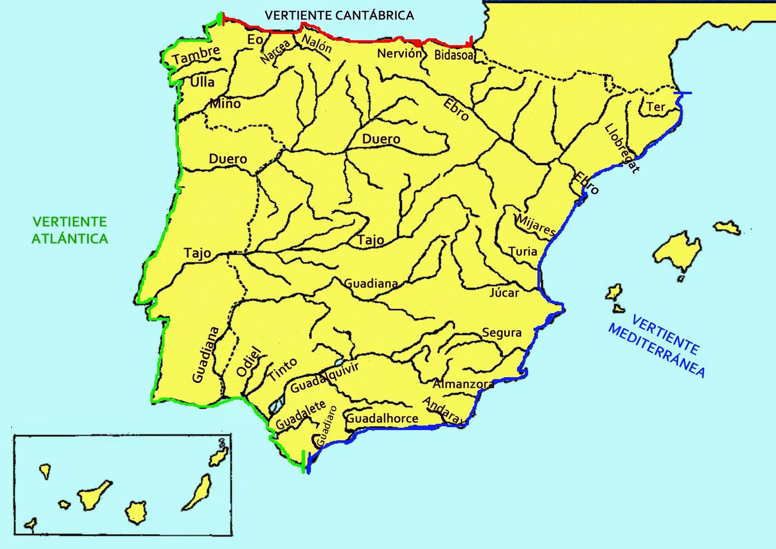 Resultado de imagen de mapa de los rios de españa