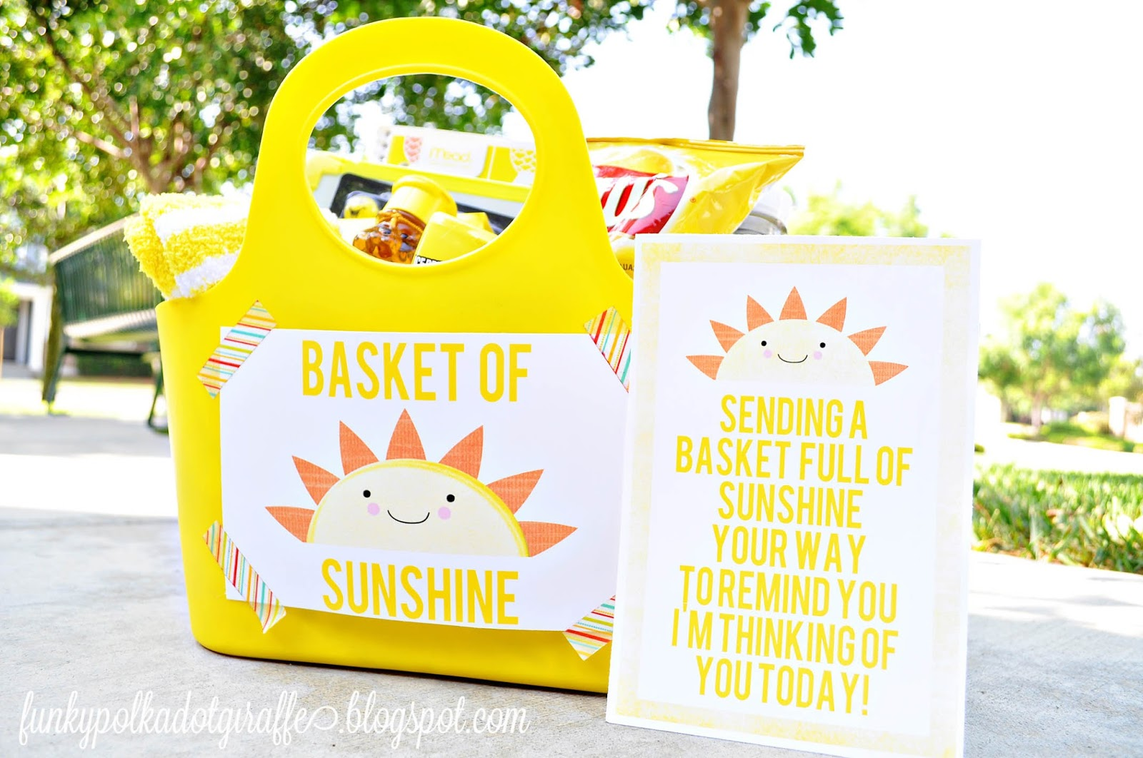 photograph regarding Basket of Sunshine Printable identify Funky Polkadot Giraffe: Basket of Sun Present with Printables