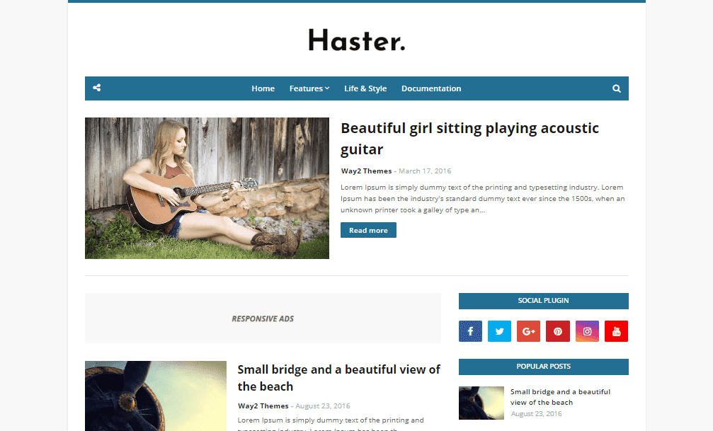 Haster Blogger Template