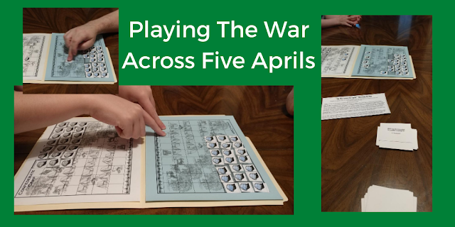 text: Playing The War Across Five Aprils; game board and game cards