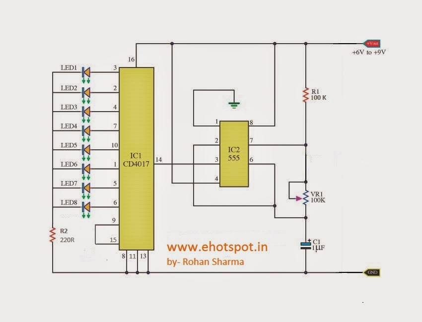 Heart Shaped Serial LED Flasher using 4017 and 555 IC ...