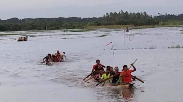 নাটোর নাজিরপুরে  চলছে ডিঙ্গি নৌকা বাইচ