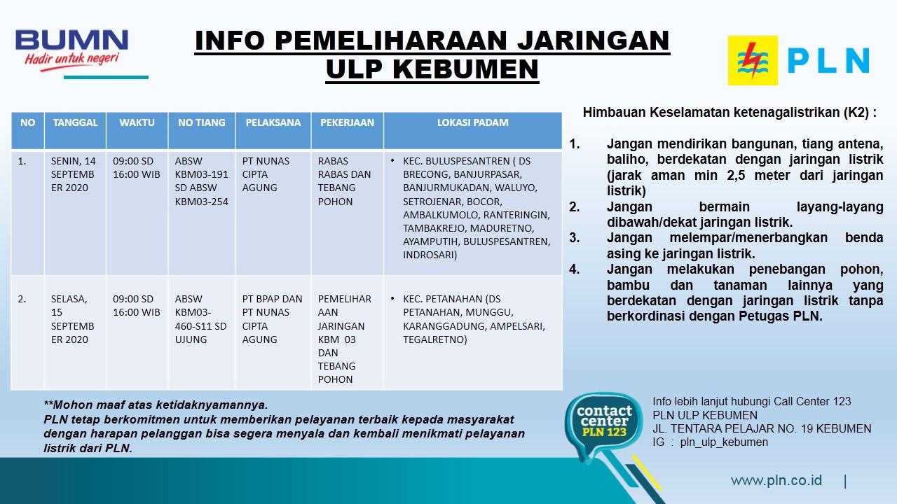 Ini Jadwal Pemadaman Listrik di Kebumen Senin 14 September 2020