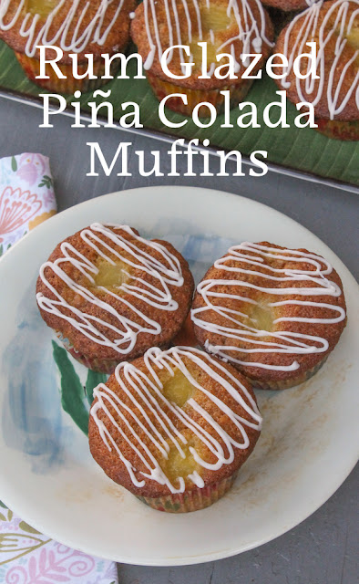 Food Lust People Love: Made with sweet cream of coconut and canned pineapple chunks, then topped with boozy glaze, these rum glazed piña colada muffins are perfect for a nippy days when you need a tropical holiday from inclement weather.