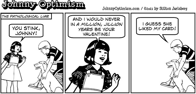 johnny optimism, medical, humor, sick, jokes, boy, wheelchair, doctors, hospital, stilton jarlsberg, valentine's day, holiday, liar, pathological, card