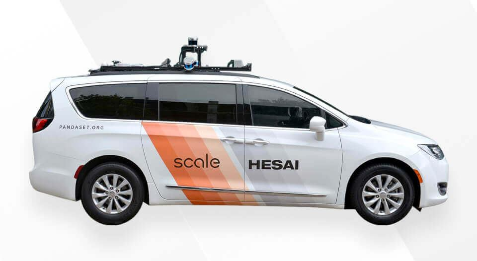 Sensor configuration on Hesai and Scale's vehicle for data collection