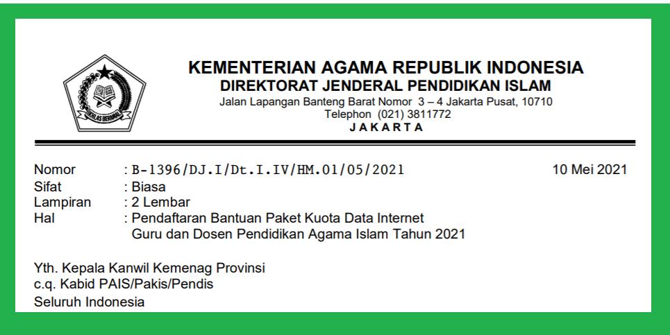 gambar surat edaran dirjen pendis bantuan internet 2021