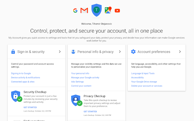 Google account - privacy and security settings
