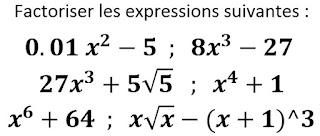 Exercice sur la factorisation en utilisant les identités remarquables