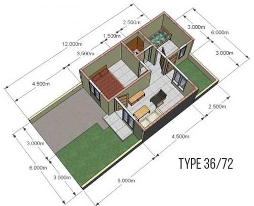 desain denah rumah minimalis type 36/72