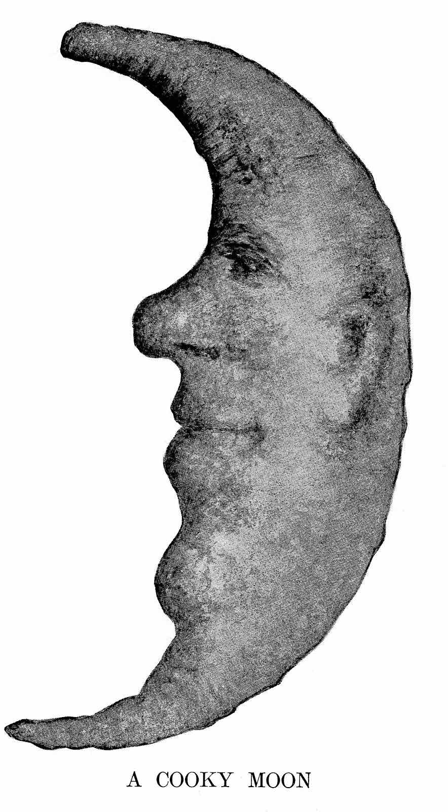 a photpgraph of a 1906 baked cookie moon face