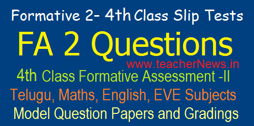 3rd Class Formative 2/ FA 2 CCE Model Question Papers/ Slip Tests, Grading Table