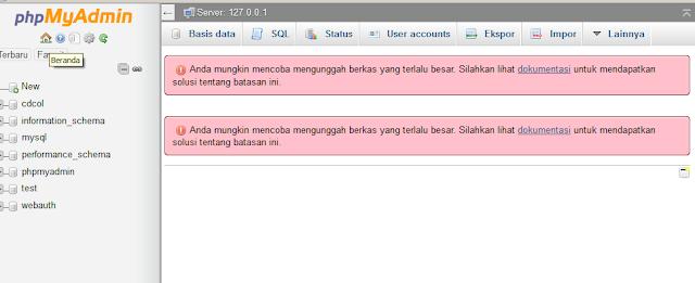 Peringatan dari PhpMyAdmin bahwa file tidak bisa di upload