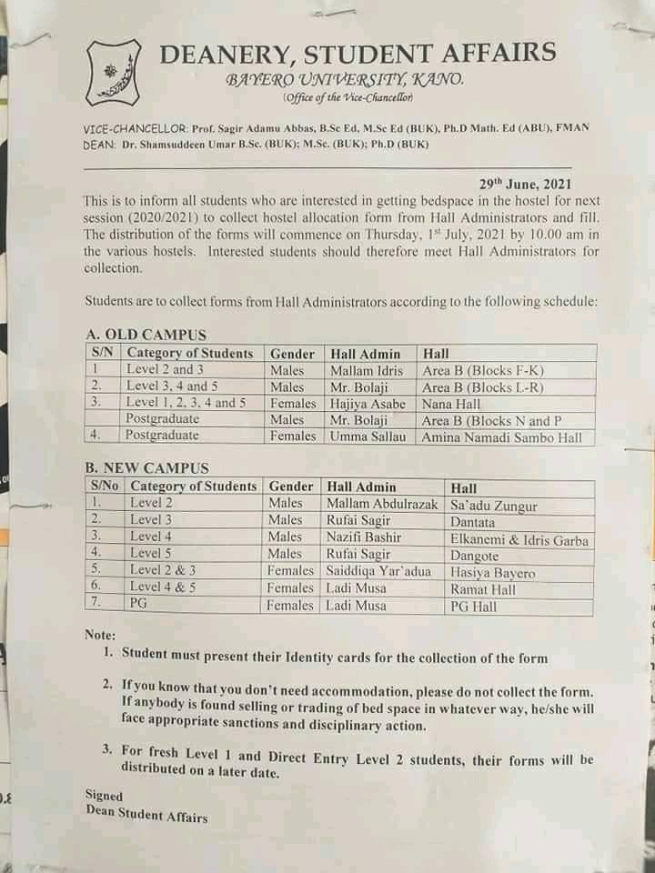 BUK Hostel Allocation Fee, Application Guidelines & Deadline 2020/2021
