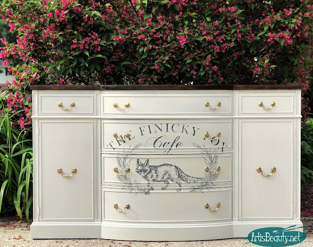 Vintage bow front buffet makeover using redesign by prima finicky fox transfer and reverent gray general finishes milk paint